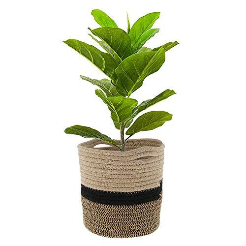 Cesta de Cuerda de Algodón para Plantas de 20cm,Cesta Organizadora Multifuncional /Cesta de Almacenamiento Sucia Textiles para el Hogar (Negro)