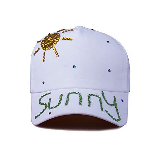ECYC Femmes Coton Bling Strass Casquette De Baseball Sun Hat Strass Snapback Hip Hop Chapeau, Blanc