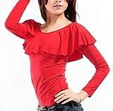 【Micopuella】 ダンス衣装 フリル トップス 長袖 フラダンス フラメンコ 社交ダンス (レッド, M)