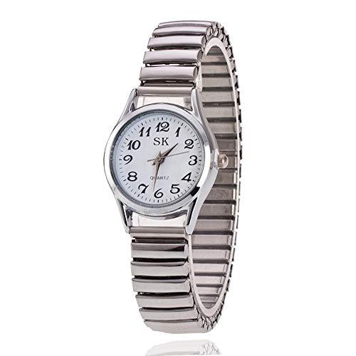 Reloj Neutro Moda Simple Relojes para Hombre Mujer Correa De Aleación Números Arábigos Fácil De Usar Elástico Reloj De Pulsera para Mediana Edad Y Ancianos Personalizar (Color : White for Women)