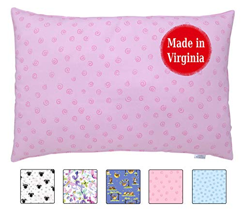 A Little Pillow Company Toddler Pillow (13x18) Sustainably Handmade in The USA - Hypoallergenic & Eco-Friendly (Pink Swirls)