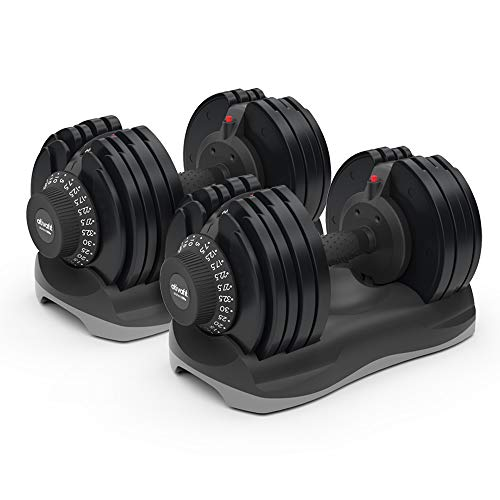 ATIVAFIT Adjustable Dumbbell Fitness Dial Dumbbell with Handle and Weight Plate for Home Gym Set (2 x 71.5 lbs)