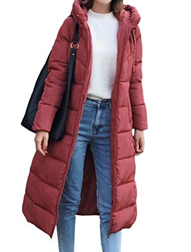 Mallimoda Donna Cappotto Lunga Giacche Piumino Parka Giacca con Cappuccio Autunno/Inverno Rosa Rosso XXL