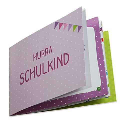 Erinnerungsheft zum ersten Schultag Endlich Schulkind. Kleines Album zur Einschulung. A5/Klammerheftung. (Rosa)
