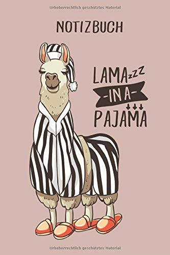 Notizbuch: Lama in Pyjama, 120 Seiten kariert, eckiger Buchrücken, genug Freiraum für all deine Notizen, Gedanken, Ideen im Lama & Alpaka Design
