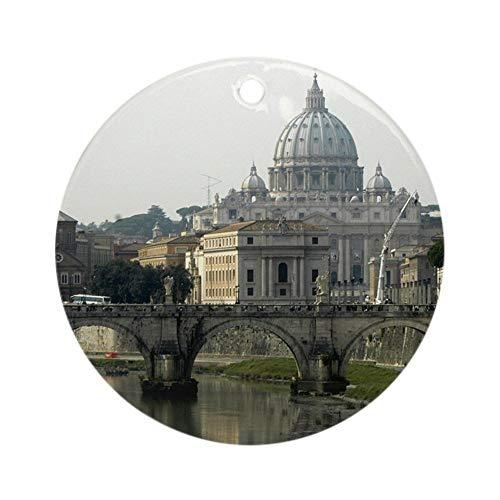 QgjayjqQ - Ornamento Città del Vaticano (rotondo) in ceramica personalizzata, decorazione per albero di Natale