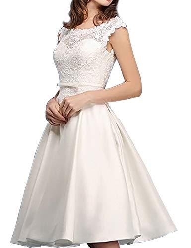 Kurze Brautkleider Vintage A-Linie Rückenfrei Spitze Satin Standesamtkleid Hochzeitskleid Wadenlang Schlicht Elfenbein 46