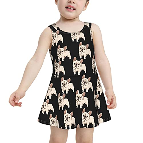 HTRBUOH French Bulldog Toddler Girls One Piece Swimsuit Quick Dry Swim Dress Swimwear Bathing Suit 2t