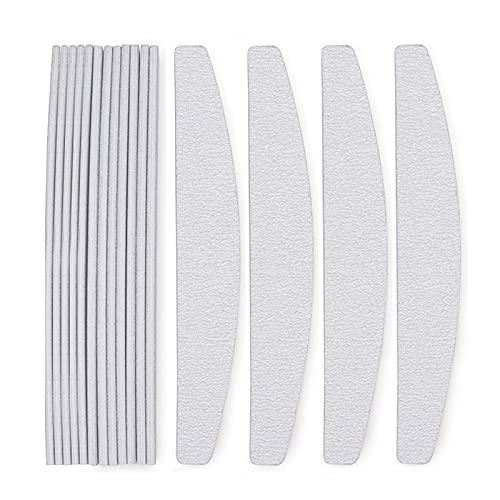 Ealicere 16 Stück 100/180 Silber-Grau Form halbrunder Nagelfeilen,Nagelfeilen Doppelseitige, Doppelseitige Einweg Nagelfeile für Nagelstudio und Zuhause