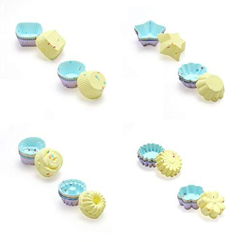 SidiOutil Silikon Cupcake Formen, 40PCS Muffinbackformen Wiederverwendbare und Antihaftbeschichtete Silikon Cupcake Backbecher Set, Inklusive 8 Formen 5 Farben Muffin Cups Formen Ofen Mikrowelle