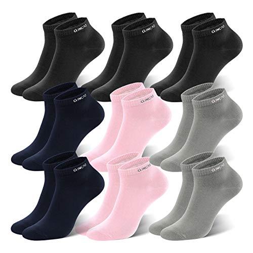 QINCAO Sneaker Socken Herren Damen 9 paar Sportsocken Baumwolle Kurze Halbsocken Unisex...