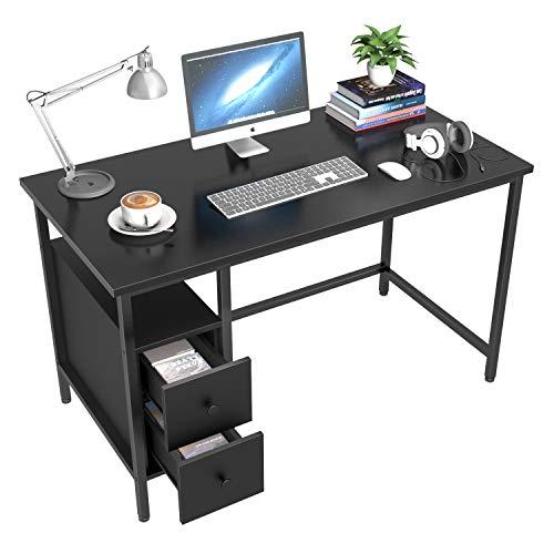 Schreibtisch mit 2 Schubladen, GIKPAL Computertisch Bürotisch aus Stahl & Holz, 120 x 60 x 75 cm Laptop-Schreibtisch Officetisch Arbeitstisch für Arbeit/Spiele/Homeoffice, modern & einfach (Schwarz)