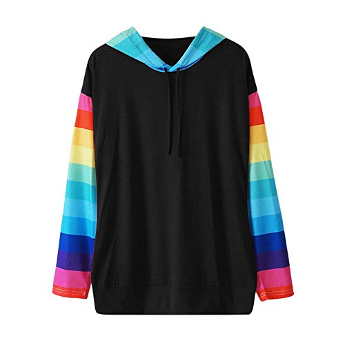 TWIFER Langarm Farbblock Streifen Hoodie Kapuzen Pullover Damen Sweatshirt Sweater