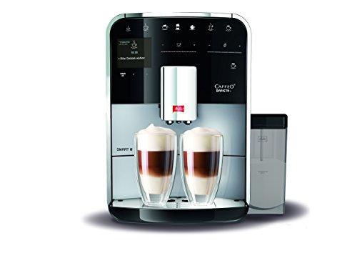 Melitta Caffeo Barista T Smart F830-101, Kaffeevollautomat mit Milchbehälter, Smartphone-Steuerung mit Connect App, One Touch Funktion, Silber/Schwarz