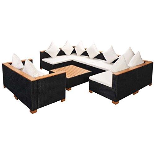 LD Tuinbank 27-TLG. Poly rotan WPC zwart zitgroep lounge tuinset