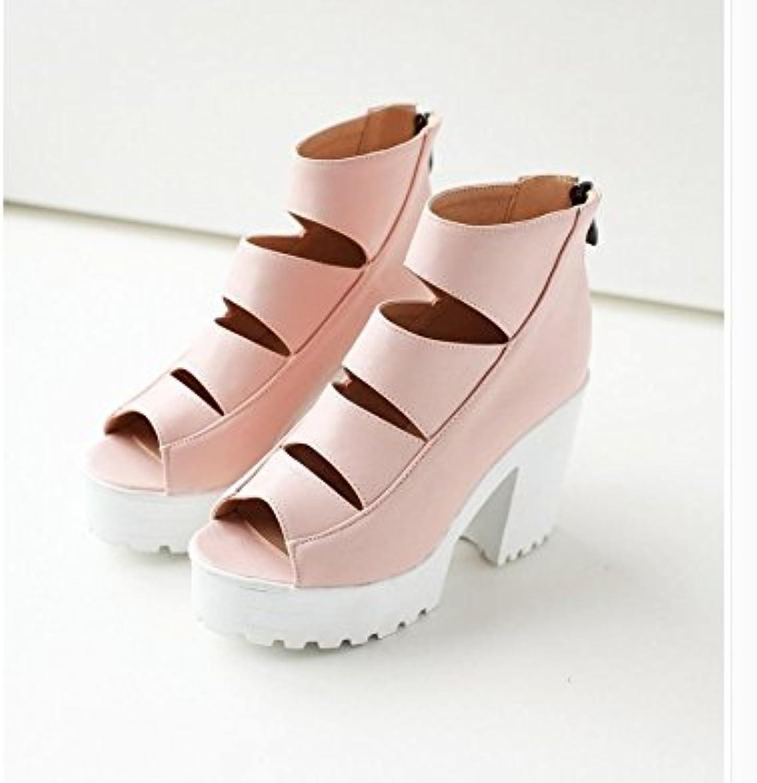 WHW Women's Fall Winter Comfort PU Dress Casual Chunky Heel Zipper Lace-up Sandals,40,pinkred