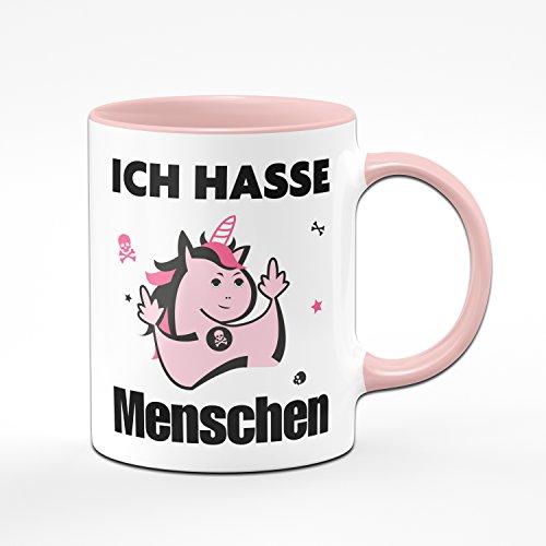 Tassenbrennerei Tasse Ich Hasse Menschen Kaffeetasse mit Einhorn in pink - Lustige Tasse Rosa