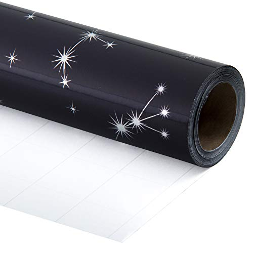 RUSPEPA Geschenkpapierrolle - Navy Mit Silbernem Sternbild-Aufdruck Für Hochzeit, Geburtstag, Urlaub, Babyparty-Geschenkpapier - 76CM X 10M