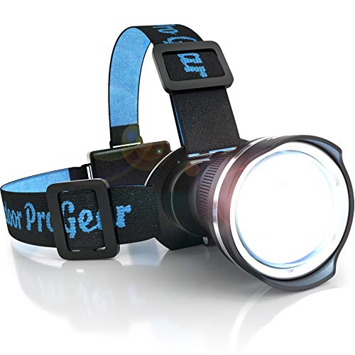 SUPER BRIGHT LED Headlamp - Best and Brightest Spotlight Headlight - Zoomable Camping Accessories Tent Light- Hunting Headlamp - Hiking Flashlight - Running Head Lamp - Emergency Hard Hat Light