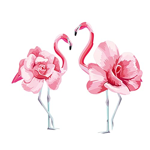 Romantic Pink Love Flamingos Wall Sticker Decal for Bedroom Living Room Wedding Decor