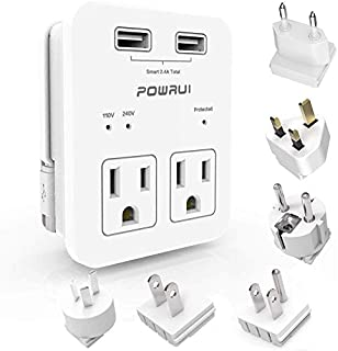 International Power Adapter, POWRUI Surge Protector Travel Adapter with 2 USB Ports & 2 US Outlets, Plug for Europe, UK, C...