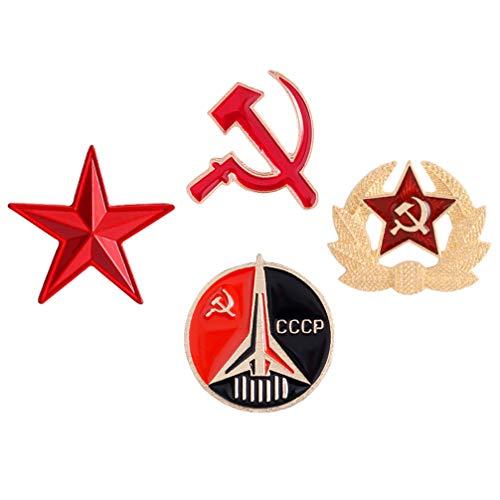 SOIMISS 4 Piezas de La Estrella Roja del CCCP de La URSS Emblema del Martillo de La Hoz Broche Pin Vintage de La Hoz Y El Martillo Pin de Solapa