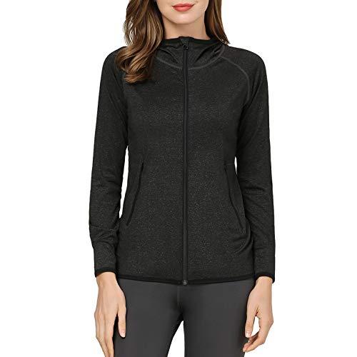 AMZSPORT Damen Laufjacke Sportjacke Langarm Kapuzenjacke Sweatjacke für Yoga Fitness, Schwarz XL