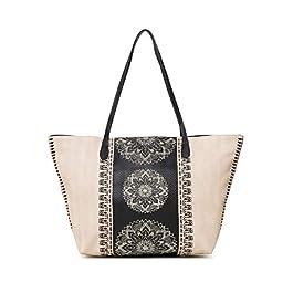 Desigual Bag Lady Capri Zipper Women, Sacs portés épaule femme, Blanc (Crudo Beige), 13x28x30 cm (B x H T)