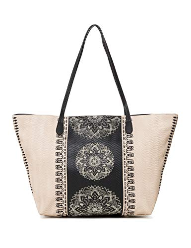 Desigual - Bag Lady Capri Zipper Women, Shoppers y bolsos de hombro Mujer, Blanco (Crudo Beige), 13x28x30 cm (B x H T)