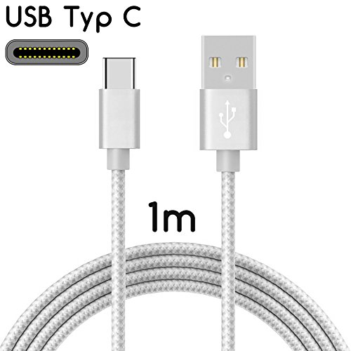 TheSmartGuard 1x USB-C kabel compatibel met ASUS Zenfone Zoom S/AR datakabel/oplaadkabel/USB C premium kabel in zilver met nylon mantel - 1 meter