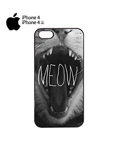 Meow Roar Cat Kitten WTF Cool Funny Hipster Swag Mobile Phone Case Back Cover Funda Negro Blanc Para iPhone 5c White