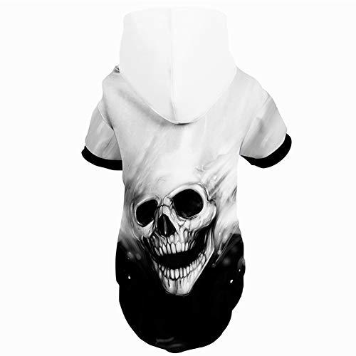 Feidaeu Ropa para Mascotas Hip-Hop Funny 3D Impreso Skull Header Style Hoodies Sweatershirts Cálido Chaquetas para Perros al Aire Libre