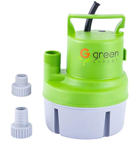 Green Expert 203617 1/6 HP Portable Submersible Utility Pump Max 1056 GPH Flow Efficiently for Clean Water Removal Basement Flood Drainage Suit to Standard Garden hoses 25 feet Cord
