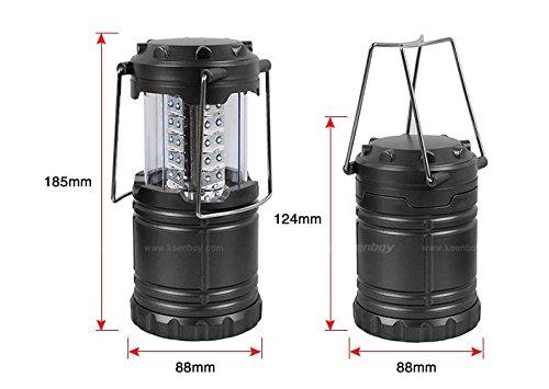 LED Lanterne Lampe de camping pliant Durable 30 LED, lampe portable LED, lampe d'extérieur pour randonnée, camping, cas d'urgence, pannes, veilleuse, Lanterne de jardin, Noir