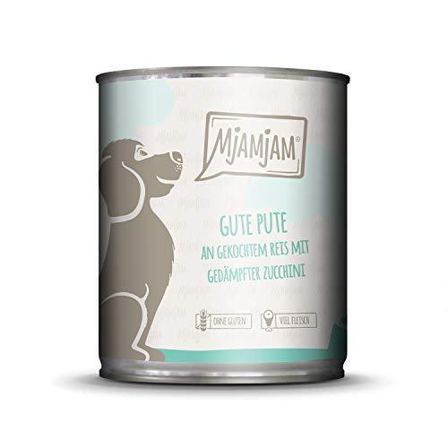 MjAMjAM - Premium Nassfutter für Hunde - Gute Pute an gekochtem Reis mit gedämpfter Zucchini, 1er Pack (1 x 800 g), naturbelassen mit extra viel Fleisch