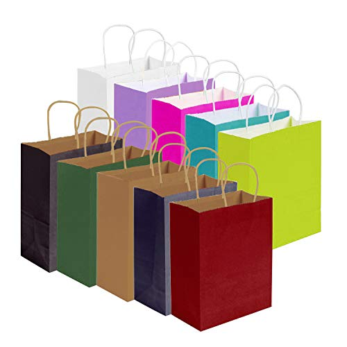 30 Stück Kraftpapiersäcke Party-Geschenkbeutel Shopping-Aufbewahrung Geschenkpapiertüte mit Tragegriff für Weihnachten, Geburtstags-, Tea-Party-, Hochzeits- und Partyfeiern, mehrfarbig