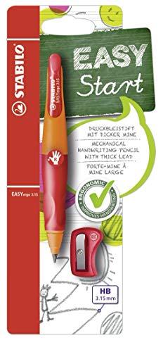 Ergonomischer Druck-Bleistift für Rechtshänder - STABILO EASYergo 3.15 in orange/rot - inklusive 1 dicken Mine - Härtegrad HB & Spitzer