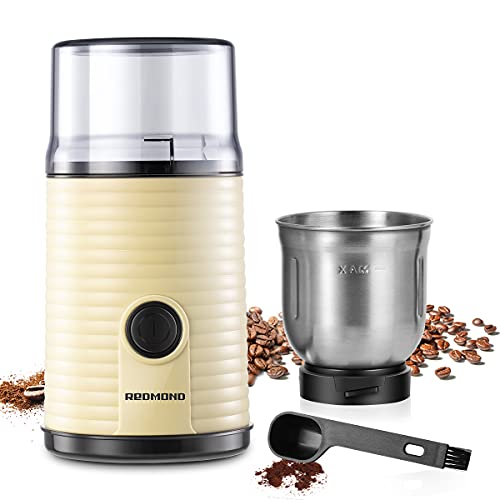 Electric Coffee Grinder, REDMOND Spices & Coffee Bean Dry Grinder with Stainless Steel 12-Cup Capacity Dry Grinding Removable Bowl, 160W (Cream)