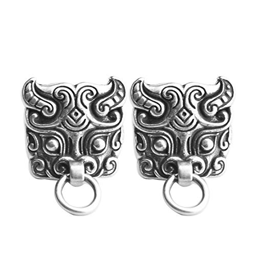Solo 925 plata uñas de oído niños retro thai plata moda tendencia china nacional viento Dios bestia puerta dios soltero