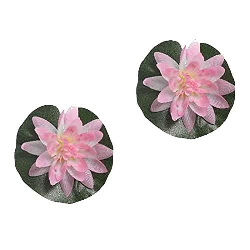 E + N Nénuphar Kunst-Pflanze Seiden-Blume ÉtéÉtang Jardin Décoratif Fontaine Flottant Rose, 3 Pièce Pack, Hauteur X Ø : Env. 4x13cm, Tissu / Plastique
