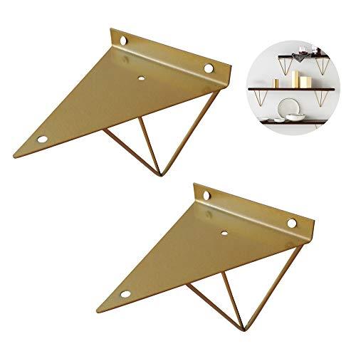 Shelf Brackets Negro Soporte para Estanterías 100mm Escuadras para Estanterias Vintage Soporte Triangular Soportes De Hierro para Retro (1 Par) con Tornillos