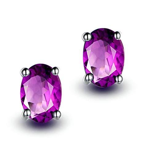 Bishilin Pendientes Mujer Plata de Ley S925 Stud Earrings Set Ajuste Cómodo Forma Oval Púrpura Oval Cristal Piedra del Zodíaco Pendiente de La Eternidad de La Boda del Aniversario Plata