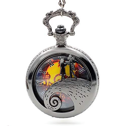 Regalo de Navidad, reloj de bolsillo de cuarzo vintage con cadena de pesadilla antes de Navidad, reloj de bolsillo con caja de regalo de Navidad