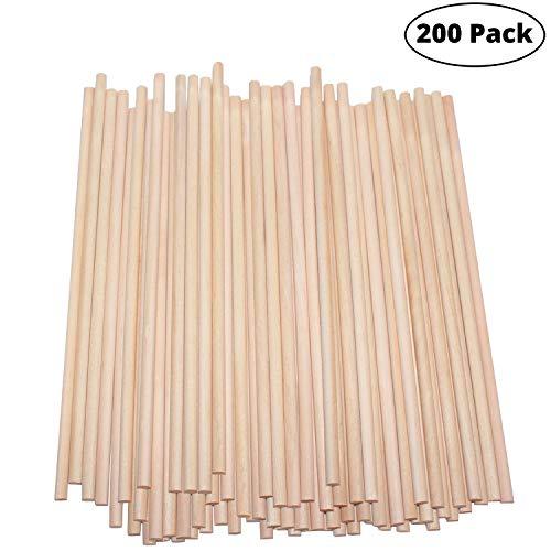 BELLE VOUS Holzstäbe (200 teilige) - 18cm x 5mm Runden Naturholz Dübelstangen - Holzstäbchen für Basteln, Dekoration - Bastelstäbe für Kunst und Handwerks Projekte