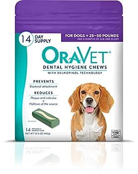 Oravet Dental Hygiene Chews for Medium Dogs 25-50Lbs 14Count
