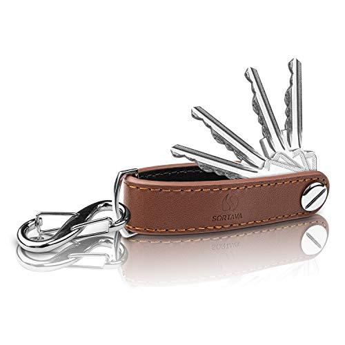 Sortava Organizador de llaves – Llavero de piel – Para hasta [12] llaves – Organizador de llaves bicolor para hombre y mujer – Se adapta a cualquier bolso