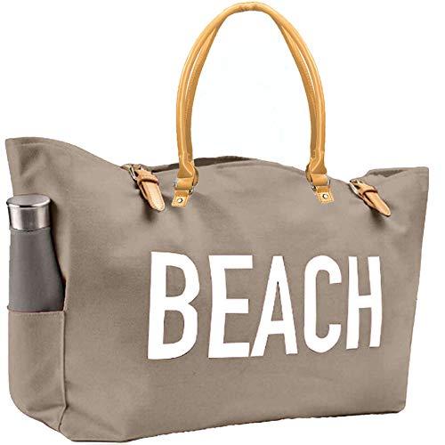 KEHO Modische Strandtasche, groß, wasserdichtes Futter, Schulterriemen, mehrere Taschen...