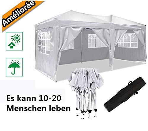 Oppikle Plegable Carpa con Paredes 3x3/3x6m - Impermeable, con Protección Solar, Ideal para Fiestas en el Jardín - Gazebo,Cenador,Pabellón,Tienda Fiestas,Persona 10-20 (3x6m Blanco)
