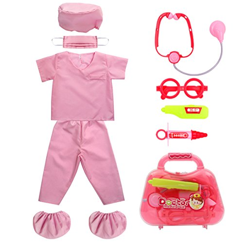 Kid's Scrubs fedio Doctor Role Play Costume Dress up Set with Doctor Medical Kit for Toddler Children Ages 3-5 (Hot Pink)