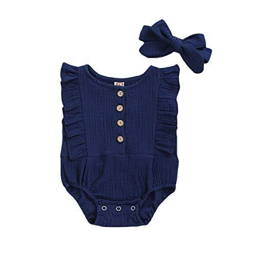 Newborn Baby Girl Summer Sleeveless Basic Plain Ruffle Romper Headband Set (Royal Blue, 0-3 Months)